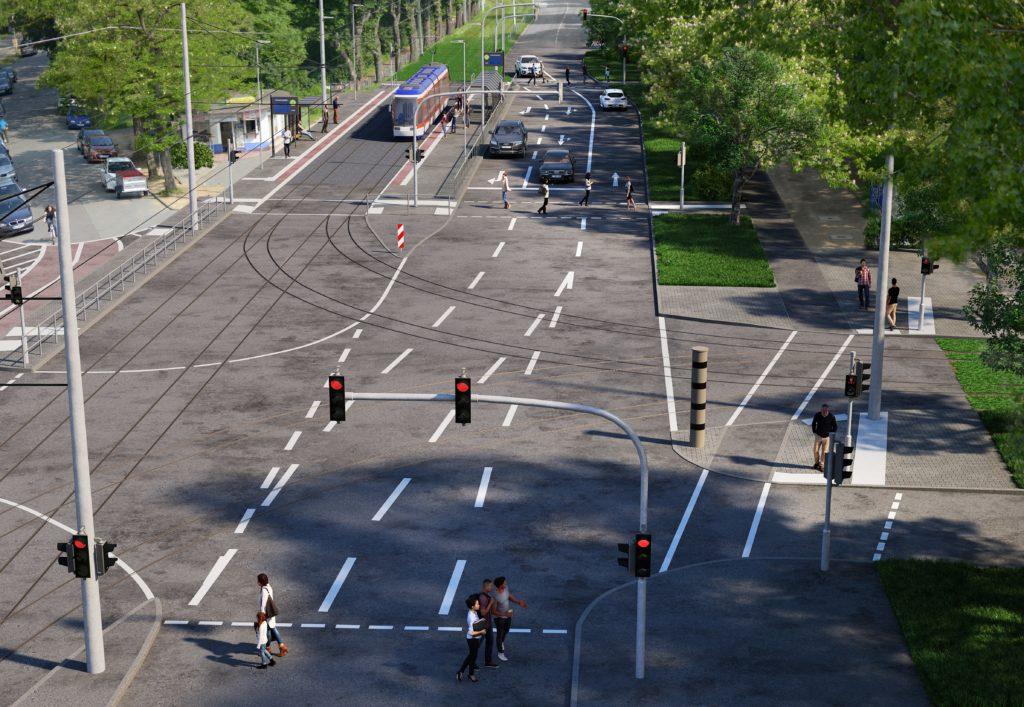"""Visualisierung der neuen Haltestelle """"Hochschulstadion"""" und des neugeordneten Kreuzungsbereichs Nieder-Ramstädter Straße/Lichtwiesenweg."""