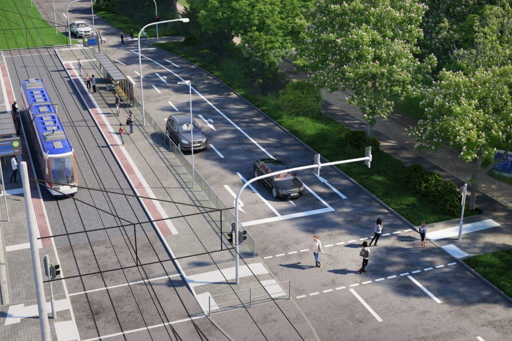 """Visualisierung der neuen Haltestelle """"Hochschulstadion"""" und der neuen Überwege an der Nieder-Ramstädter Straße."""