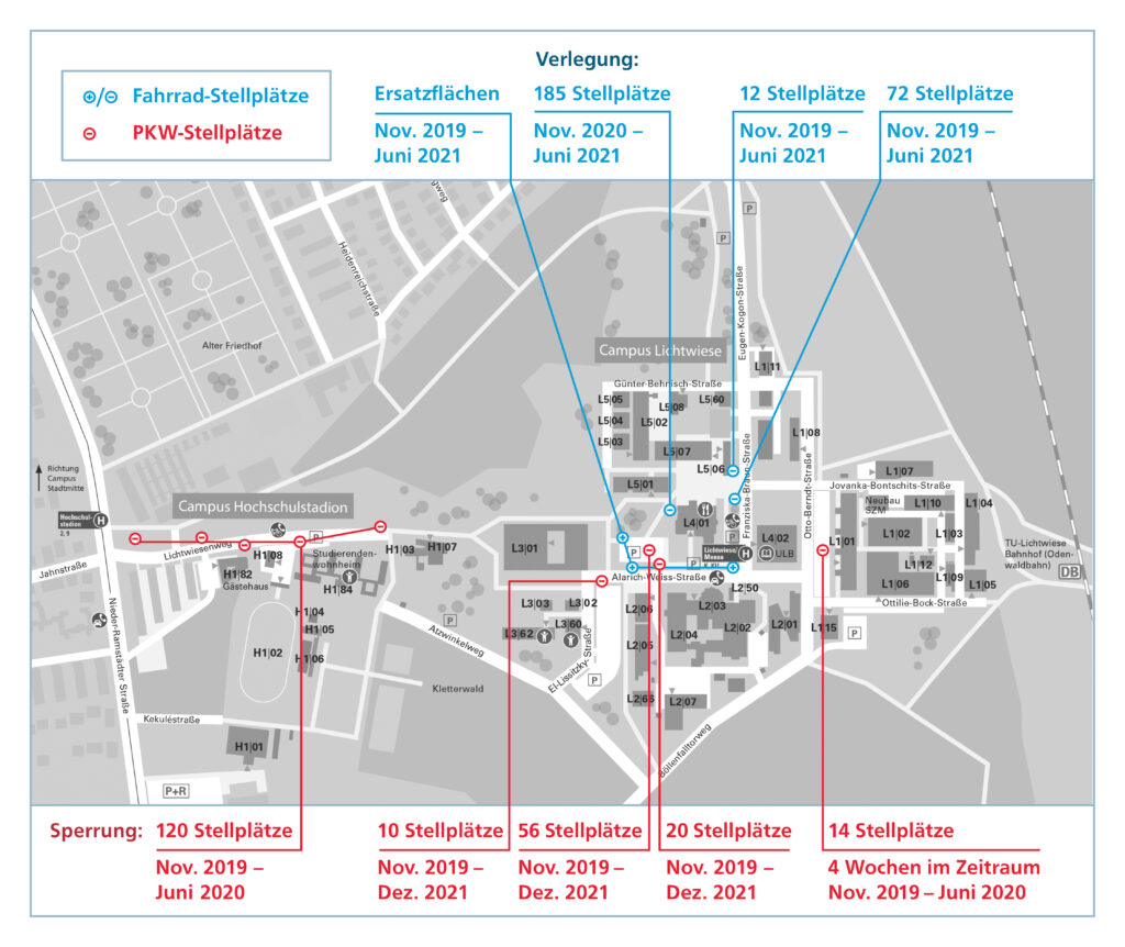 Fahrrad- und PKW-Stellplätze auf der Lichtwiese während der Bauzeit (Quelle: TU Darmstadt/Stabsstelle Kommunikation und Medien)